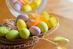 Wooden basket full of colorful eggs and bird Stock Image