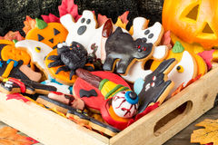 Wooden basket full of halloween homemade cookies Stock Photography