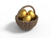 Wooden basket with golden eggs Royalty Free Stock Photos