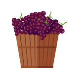 Wooden Basket with Grapes. Red Wine. Stock Image