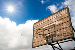 Wooden Basket Hoop And Sunrise Royalty Free Stock Photos