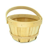 Wooden basket isolated on white background Stock Photos