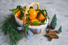 Wooden Basket Mandarine with Leaves and Lights, Tangerine Orange on Gray Table Background Christmas New Year Decors. Party Concept royalty free stock photography