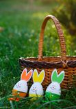 Wooden basket with orange, yellow and green eggs lies on spring green grass at sunlight. Happy Easter! Decoration, egg hunt royalty free stock photography