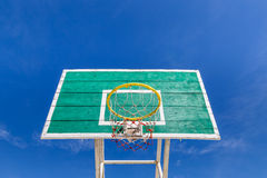 Wooden basketball board with hoop Stock Images
