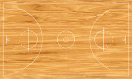 Wooden basketball court Royalty Free Stock Images