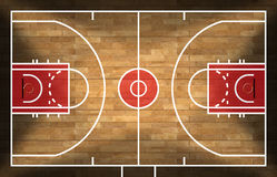 Wooden Basketball Court with Parquet. Realistic 3D illustration of a basketball court with wooden floor (parquet Stock Images