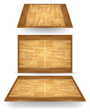 Wooden basketball court with perspective Royalty Free Stock Photos