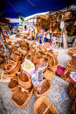 Wooden baskets souvenirs Royalty Free Stock Photography
