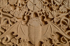 Wooden bat bas relief Stock Photo