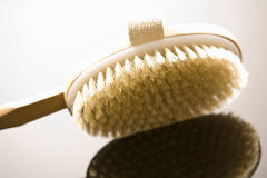 Wooden bath brush, close-up Stock Photos