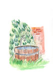 Wooden bath-tub for spa. Water color drawing: wooden bath-tub for spa royalty free illustration