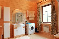 Wooden bathroom Stock Photos