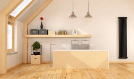 Wooden bathroom in the attic Stock Image