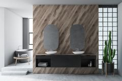 Wooden bathroom interior with double sink and tub. Interior of stylish bathroom with white and wooden walls, concrete floor, double sink with oblong mirrors and stock illustration