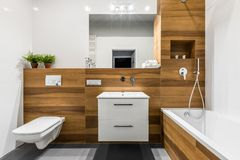 Wooden bathroom with mirror. Modern, wooden bathroom with bathtub, mirror, toilet, cabinet and sink royalty free stock photo