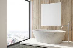 Wooden bathroom, tub and poster side. Modern bathroom interior with wooden walls, a black floor, and a white tub with a poster hanging above it. A side view. 3d vector illustration