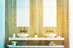 Wooden bathroom with two sinks close up Stock Images