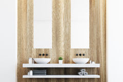 Wooden bathroom with two sinks. Wooden bathroom with a light wall, two white sinks and two tall rectangular mirrors hanging above them. 3d rendering Stock Photo