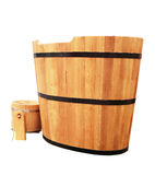 Wooden bathtub. In barrel shape western style Royalty Free Stock Images