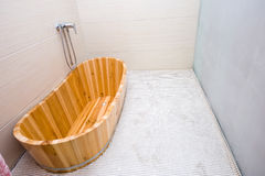 Wooden bathtub stock images