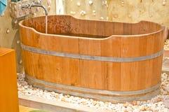 Wooden bathtub Royalty Free Stock Photography