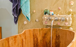 Wooden bathtub Stock Image