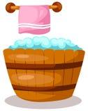 Wooden bathtub with towel stock illustration