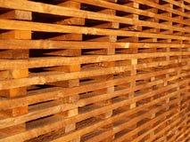 Wooden battens. Stack of wooden battens at builders merchant Stock Photo