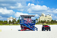 Wooden bay watch hut at the beach in South Miami. Wooden bay watch hut at the beach Royalty Free Stock Photos