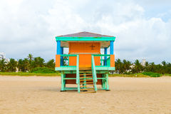 Wooden bay watch huts in Art deco Royalty Free Stock Image