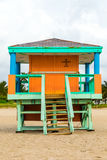Wooden bay watch huts in Art deco Stock Image