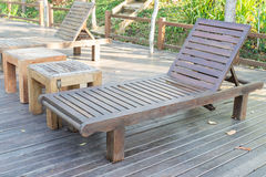 Wooden beach bed Royalty Free Stock Photography