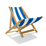 Wooden beach blue striped deck chair isolated on white Royalty Free Stock Photo