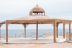 Wooden beach canopy. Royalty Free Stock Image