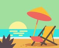 Wooden beach chair on beach. Vector flat Stock Images