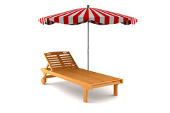 Wooden beach chair and umbrella isolated on white Royalty Free Stock Photo