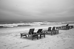 Wooden beach chairs Royalty Free Stock Image