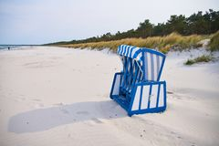 Wooden beach chairs, Rugen Island, Germany royalty free stock photo