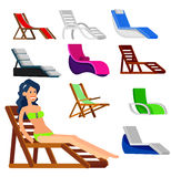 Wooden beach chaise longue Stock Photography