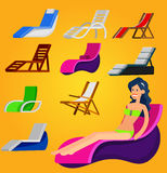 Wooden beach chaise longue Stock Images