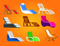Wooden beach chaise longue. Set of beach chaise longue in different design. Retro Vector illustration royalty free illustration