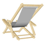 Wooden beach deck chair isolated on white background. Wooden beach deck chair with grey fabric isolated on white background. 3d rendering Stock Image