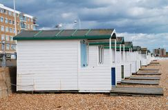 Wooden beach huts, Bexhill Royalty Free Stock Photos