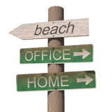 Wooden beach sign Royalty Free Stock Image