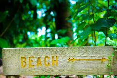 Wooden beach sign Stock Photography