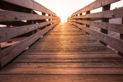 Wooden beach walkway Stock Images