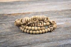 Wooden bead bracelets Stock Photo