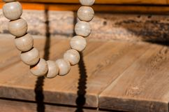 Wooden bead for prayer in buddhism temple.  Stock Image
