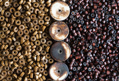 Wooden beads background Stock Image
